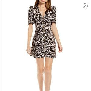 NWT Something Navy leopard button mini dress
